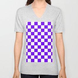 Checkered - White and Indigo Violet Unisex V-Neck
