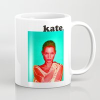kate moss Mugs featuring Kate love. by Queen Lizard