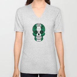 Sugar Skull with Roses and Flag of Nigeria Unisex V-Neck