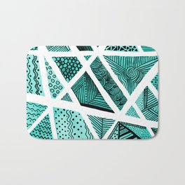 Geometric doodle pattern - turquoise and black Bath Mat