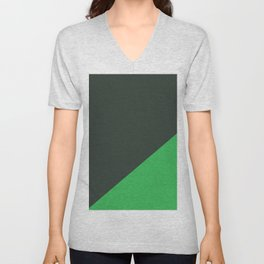 Dark Grey & Bright Green - oblique Unisex V-Neck