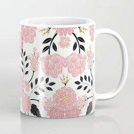 Pink, White, Black, Blue & Yellow Elegant Floral Pattern Coffee Mug