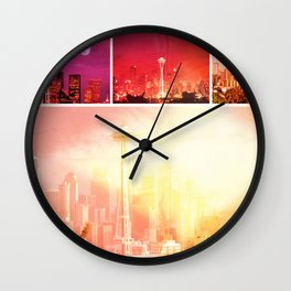 Shades of Red Space Needle Wall Clock