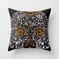 calavera Throw Pillows featuring CALAVERA by Nick Potash