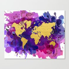 Pop of Color World Map Canvas Print