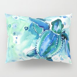 Turquoise Blue Sea Turtles in Ocean Pillow Sham