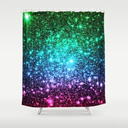 glitter Cool Tone Ombre (green blue purple pink) Shower Curtain