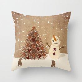 Primitive Country Christmas Tree Throw Pillow