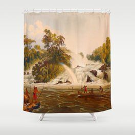 Junction Of The Kundanama Illustrations Of Guyana South America Natural Scenes Hand Drawn Shower Curtain