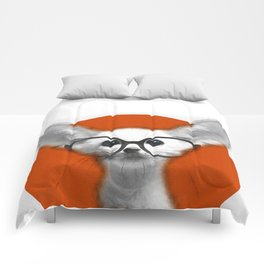 Fennec Fox wearing glasses Comforters