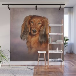 Drawing Dog breed long haired dachshund Wall Mural