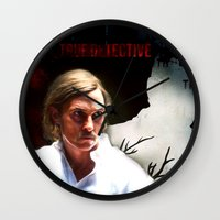 true detective Wall Clocks featuring True Detective by Sunli