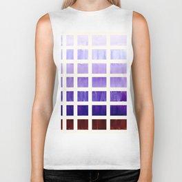 Purple Minimalist Mid Century Grid Pattern Staggered Square Matrix Watercolor Painting Biker Tank