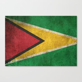 Old and Worn Distressed Vintage Flag of Guyana Canvas Print