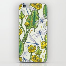 yellow water lilies and dragonflies iPhone Skin