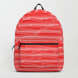Curved gentle scribbles of art waves and light red lines. Backpack