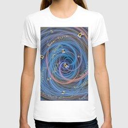 Bees Swarm Vortex Typography by OLena Art T-shirt