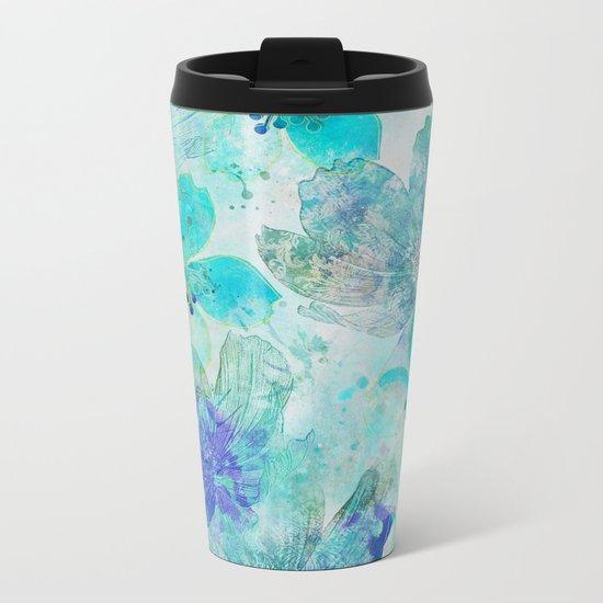 blue turquoise mixed media flower illustration Metal Travel Mug