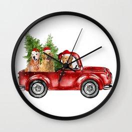 Golden Retriever Driving Red Truck Christmas Wall Clock