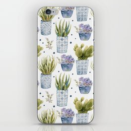 cactus in patterned pots pattern iPhone Skin
