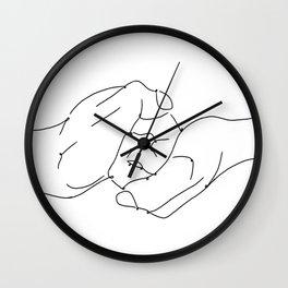 4 elements earth male female hands line art black white modern contemporary art illustration Wall Clock