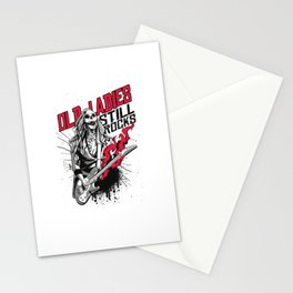 Old Ladies Still Rocks | Rock Music and Guitar Girl Stationery Cards