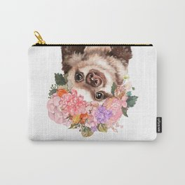 Baby Sloth with Flowers Crown in White Carry-All Pouch