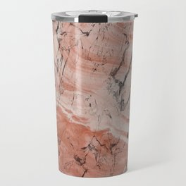 Coral Salmon Alabaster Marble Travel Mug