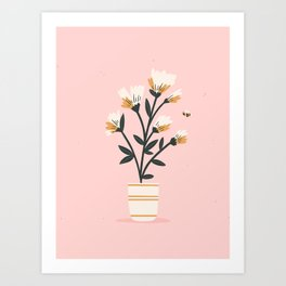 Bumble Bee Flowers Pink Art Print