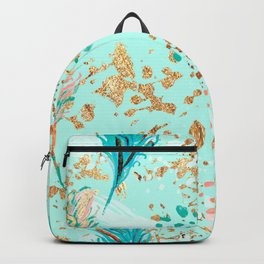 Feather peacock peach mint #7 Backpack