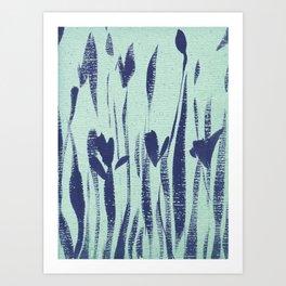 Indigo Irises Art Print