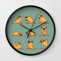 pug Wall Clocks featuring Pug Yoga by Huebucket