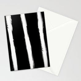 Medium Brush Strokes Vertical Off White on Black Stationery Cards