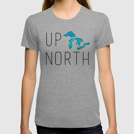 UP NORTH with watercolor great lakes T-shirt
