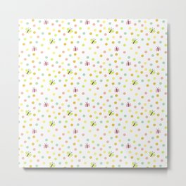 Butterflies and Polka Dots Pattern Metal Print