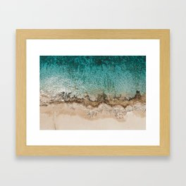 Caribbean Sea Blue Beach Drone Photo Framed Art Print