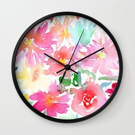 Blooming bouquet #2 || watercolor Wall Clock