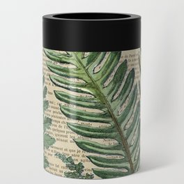Book Art Page Botanical Leaves Can Cooler