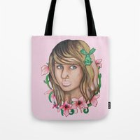 the legend of korra Tote Bags featuring Korra by Papa-Paparazzi