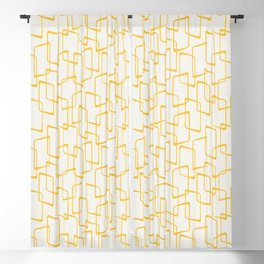 Reverse Yellow Retro Geometric Pattern Blackout Curtain