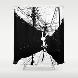 minima - beta bunny / noir Shower Curtain