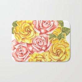 Pretty Watercolor Flowers Bath Mat