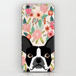 Boston Terrier floral dog head cute pet portrait gifts for boston terriers must haves iPhone Skin