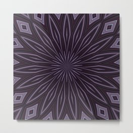 Artisitic Floral Kaleidoscope Pattern Purple Shades Metal Print