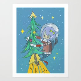 Christmas Rocket Art Print