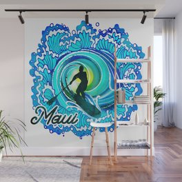 Sup paddle Boarder Beautiful Ocean Blue SPLASH Wall Mural