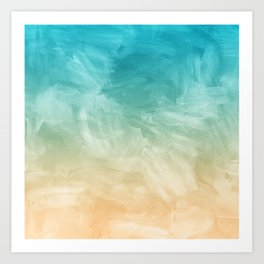 Beach Watercolor, Blue Beige Ombre, Coastal Decor Art Print