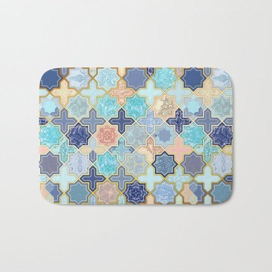 Cream, Navy and Aqua Geometric Tile Pattern Bath Mat