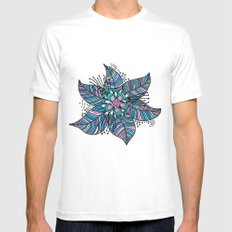 Line Floral Mens Fitted Tee MEDIUM White