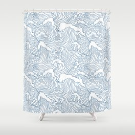 Japanese Wave Shower Curtain